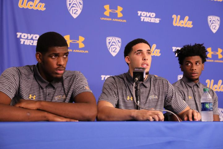 Cody Riley (left), LiAngelo Ball and Jalen Hill speak at a Nov. 15, 2017, press conference at UCLA after flying back from Chi