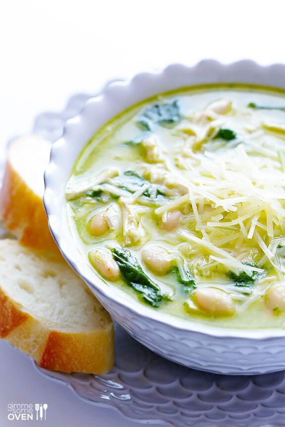 "<strong>Get the <a href=""https://www.gimmesomeoven.com/5-ingredient-pesto-chicken-soup-recipe/"" target=""_blank"">5-Ingredient"