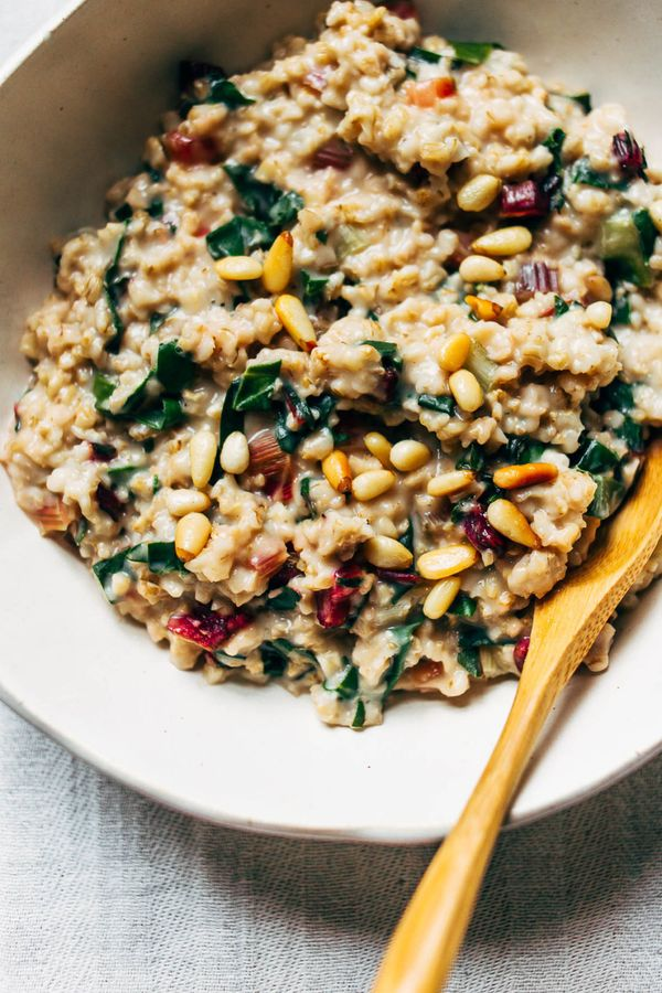 "<strong>Get the <a href=""http://www.wholeheartedeats.com/2018/02/creamy-steel-cut-oats-with-rainbow-chard-pine-nuts/"" target="