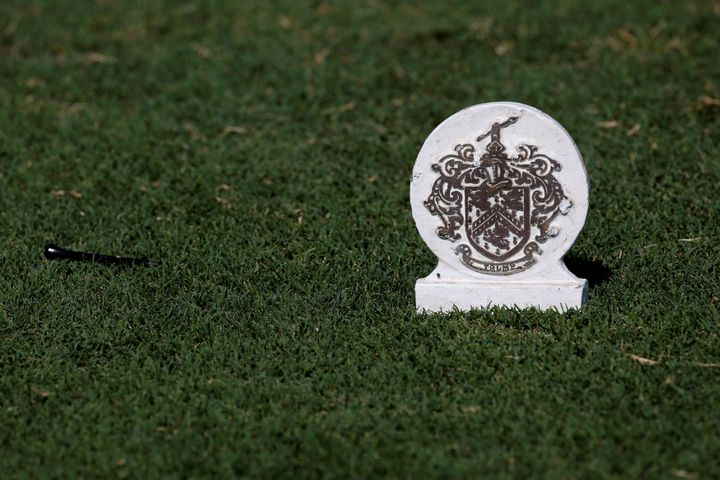 A coat of arms marks the 17th tee box at the Trump International Golf Club in West Palm Beach, Florida.