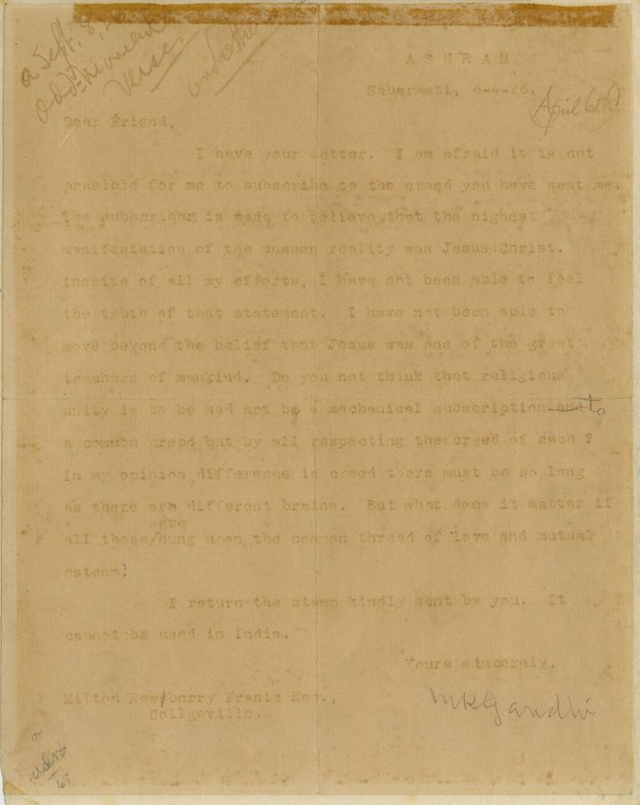 The letter from Mohandas K. Gandhi to Milton Newberry Frantz, dated April 6, 1926.