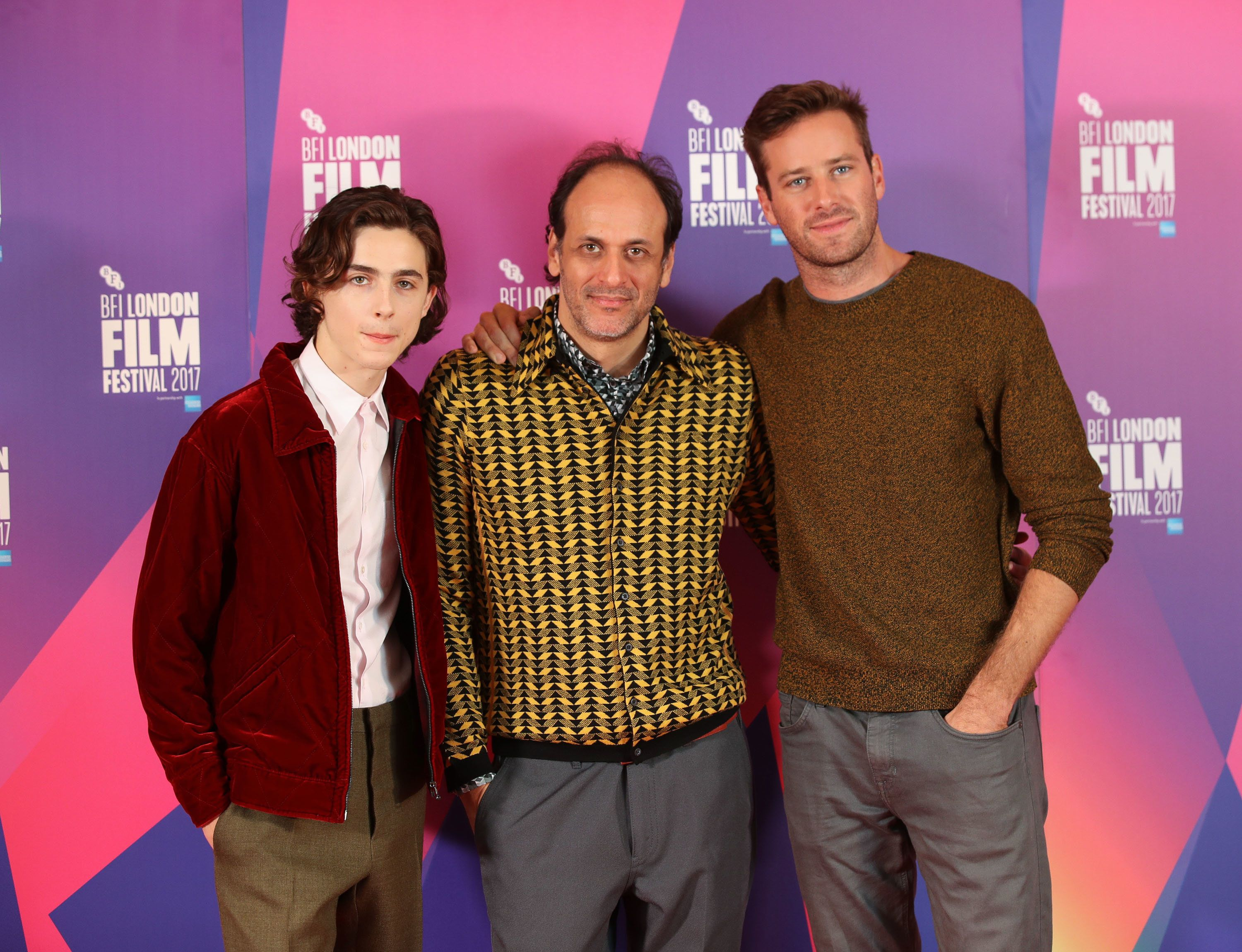 LONDON, ENGLAND - OCTOBER 09:  Timothee Chalamet, Luca Guadagnino and Armie Hammer, attend a photocall for 'Call Me By Your Name' during the 61st BFI London Film Festival on October 9, 2017 in London, England.  (Photo by Mike Marsland/Mike Marsland/WireImage)