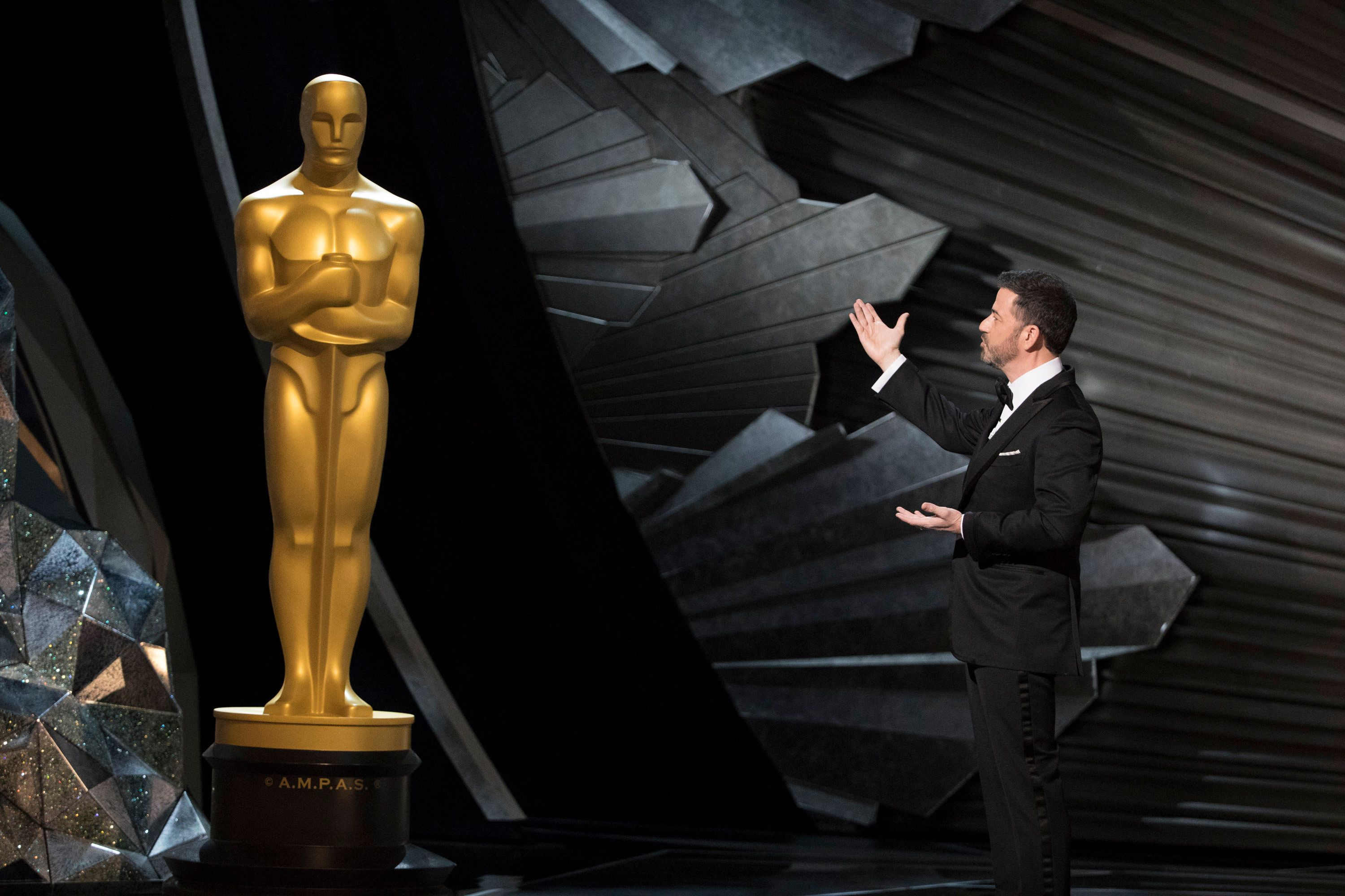 THE OSCARS(r) - The 90th Oscars(r)  broadcasts live on Oscar(r) SUNDAY, MARCH 4, 2018, at the Dolby Theatre® at Hollywood & Highland Center® in Hollywood, on the ABC Television Network. (Ed Herrera via Getty Images) JIMMY KIMMEL