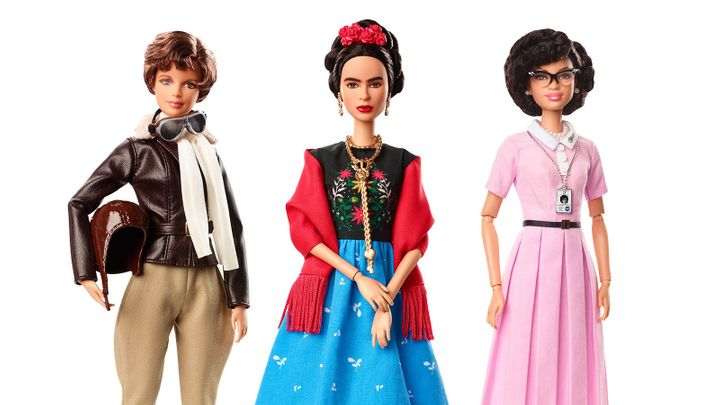 Amelia Earhart, Frida Kahlo and Katherine Johnson -- in Barbie form.