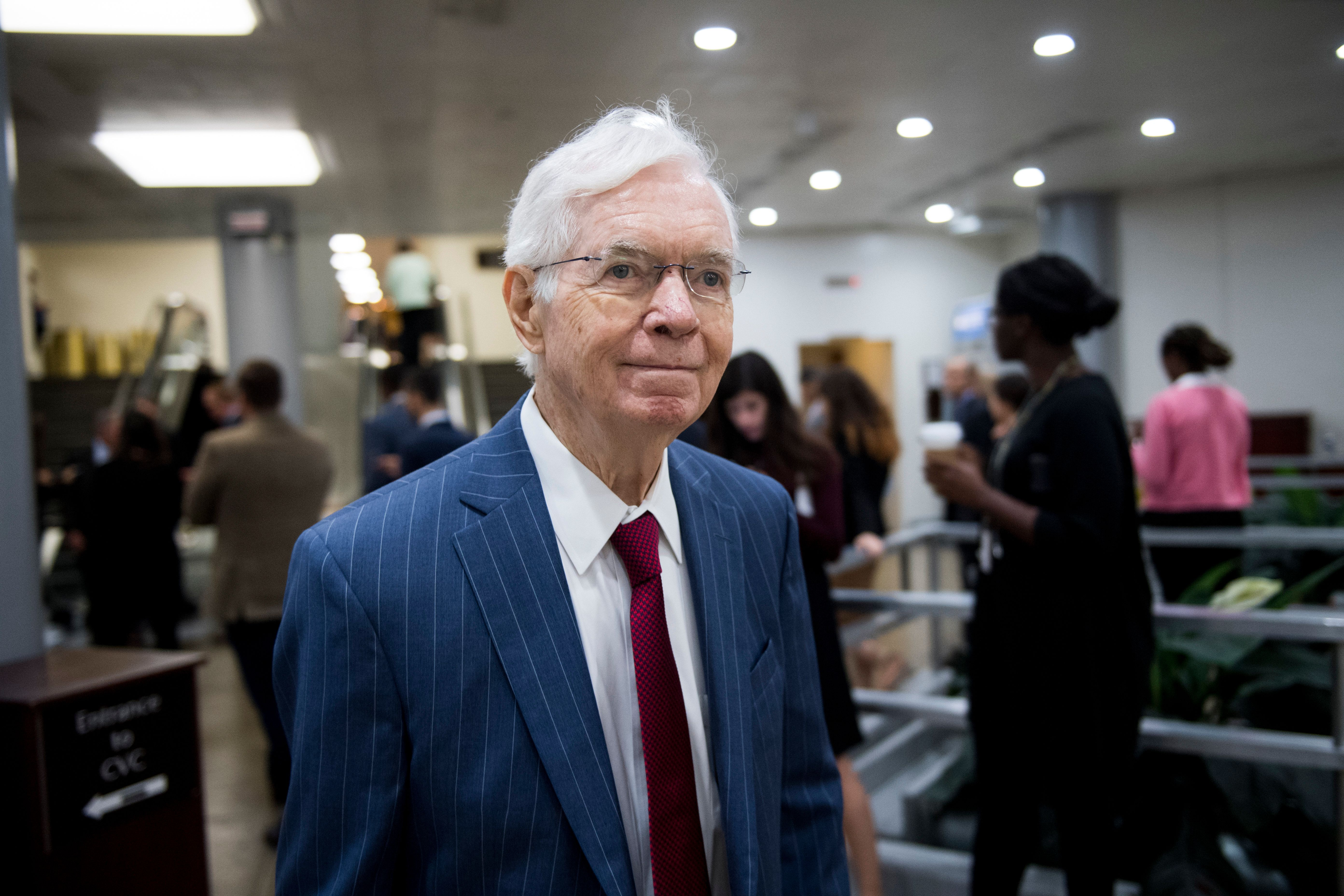 UNITED STATES - OCTOBER 24: Sen. Thad Cochran, R-Miss., leaves the Senate Republicans' policy lunch with in the Capitol on Tuesday, Oct. 24, 2017. (Photo By Bill Clark/CQ Roll Call)