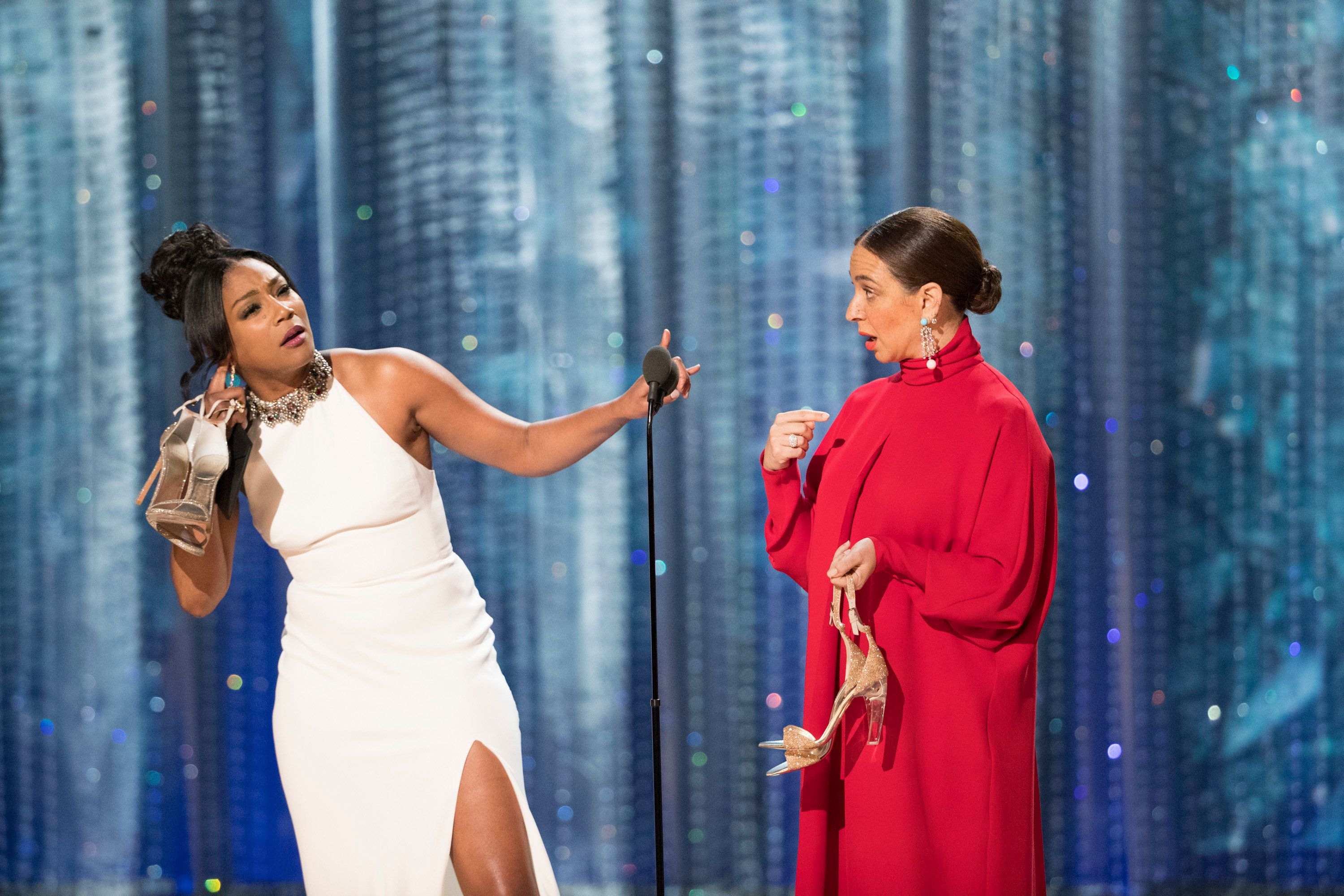 THE OSCARS(r) - The 90th Oscars(r)  broadcasts live on Oscar(r) SUNDAY, MARCH 4, 2018, at the Dolby Theatre® at Hollywood & Highland Center® in Hollywood, on the ABC Television Network. (Craig Sjodin via Getty Images) TIFFANY HADDISH, MAYA RUDOLPH