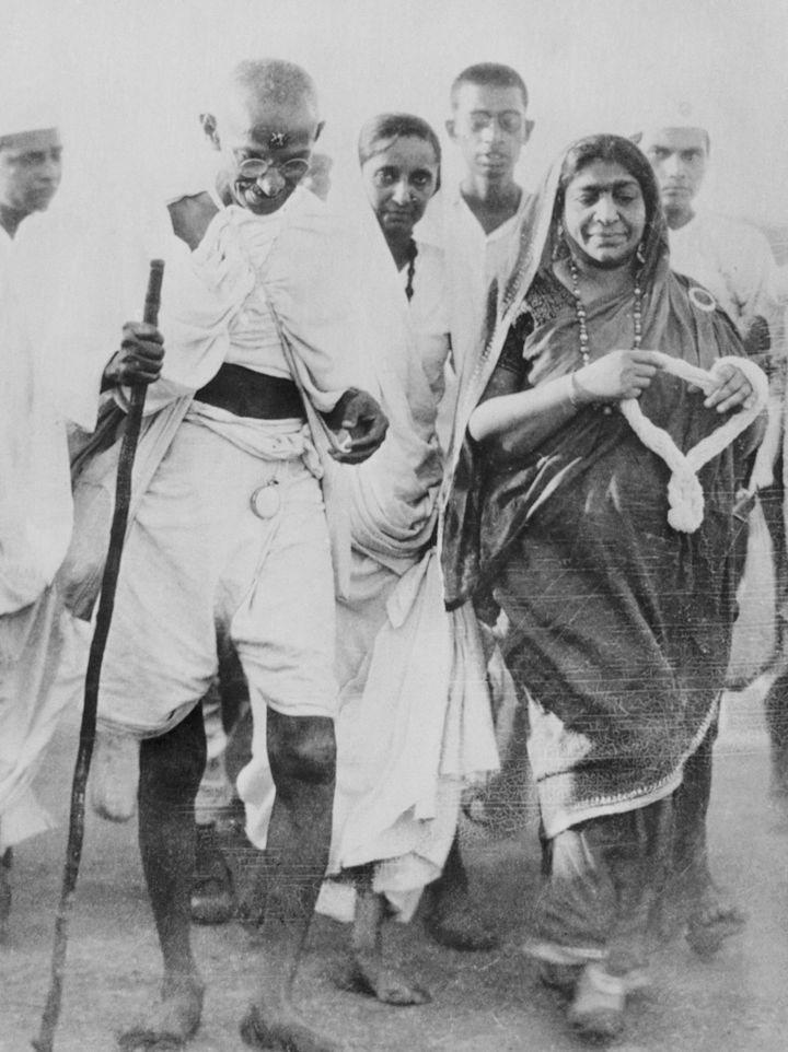 Mahatma Gandhi marches to a coastal village in 1930 to collect salt, in violation of British law in
