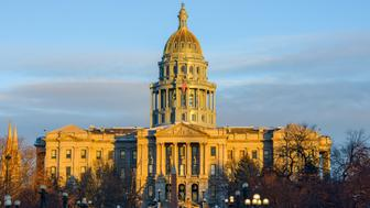 A winter sunset view of Colorado State Capitol Building at Downtown Denver.