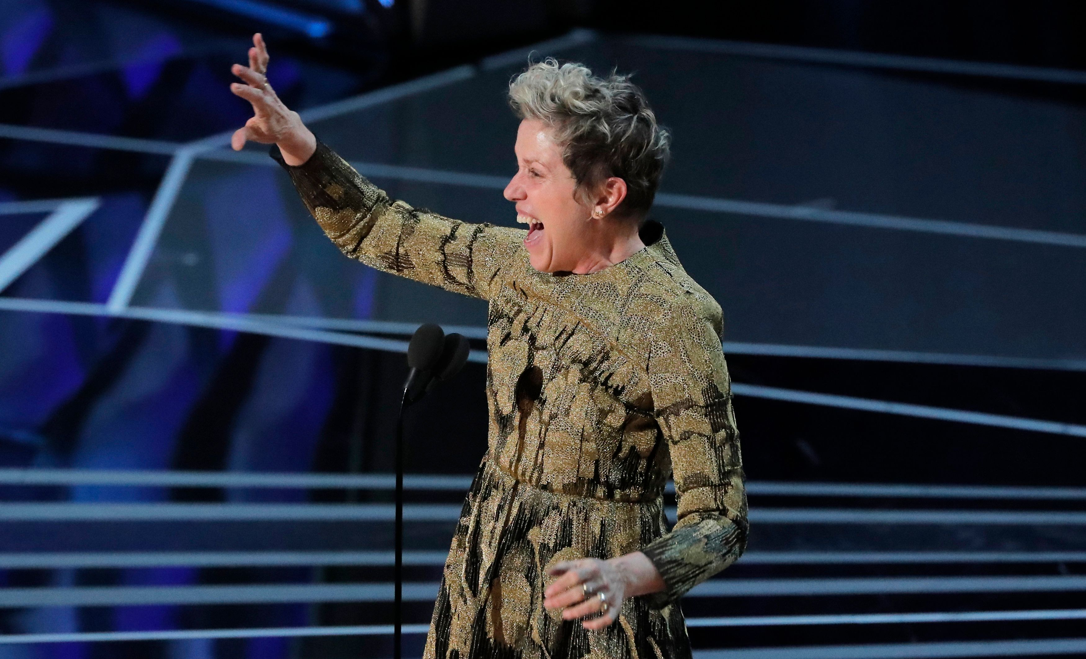 90th Academy Awards - Oscars Show – Hollywood - Frances McDormand accepts the Best Actress Oscar for her performance in Three Billboards Outside Ebbing, Missouri. REUTERS/Lucas Jackson