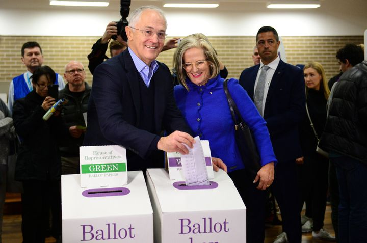 Australian Prime Minister Malcolm Turnbull casts his ballot, with wife Lucy, in the 2016 election.