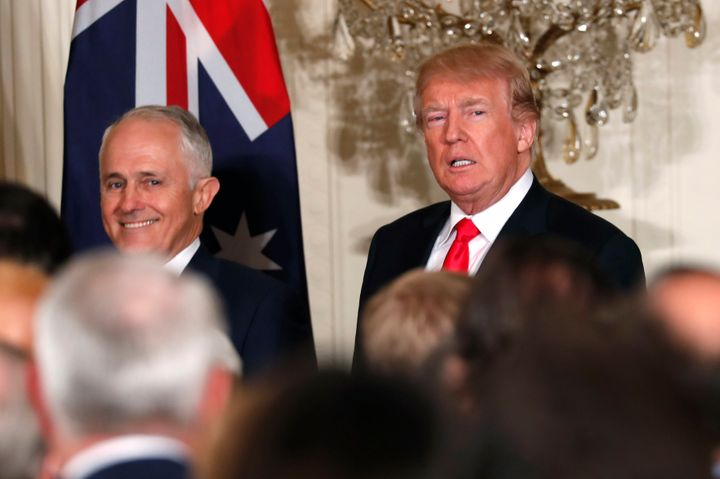 Australian Prime Minister Malcolm Turnbull (left) and President Donald  Trump at the White House