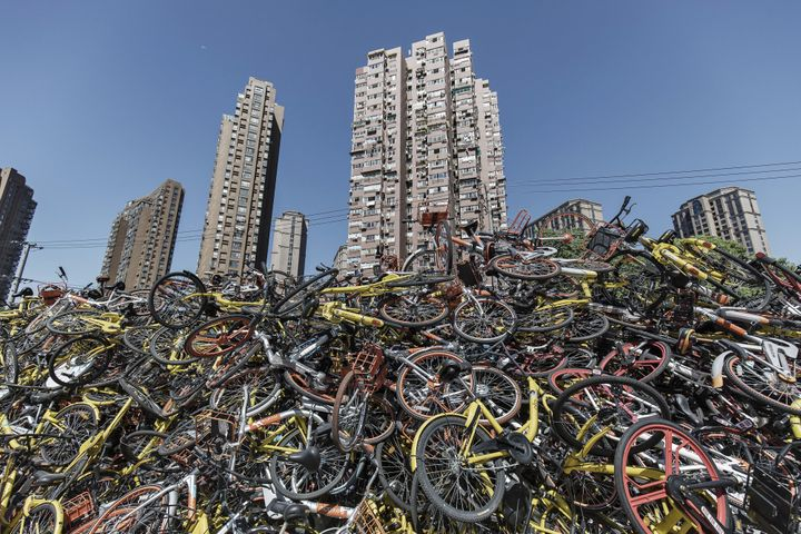 Ride-sharing bikes dumped in Shanghai, China.