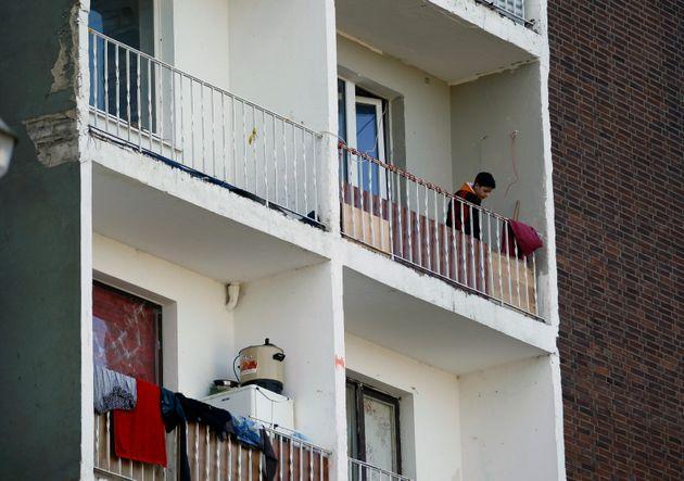 Wohngebäude mit Bewohnern aus Osteuropa.