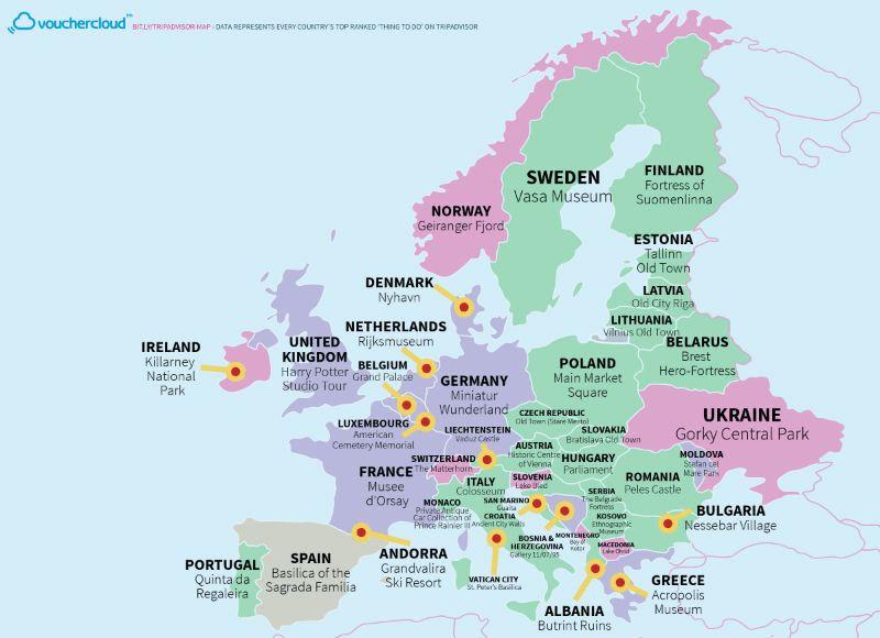 Όλα τα κορυφαία αξιοθέατα στον κόσμο σε έναν υπέροχο χάρτη. Και τελικά τι προτιμούν οι
