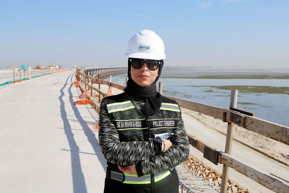 Mai Ibrahim Al-Mesad is a project manager of the maritime section of the Jaber Al-Ahmad Causeway in Kuwait City, Kuwait. Here