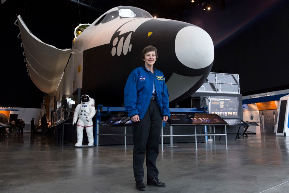 Wendy Lawrence, 58, is a retired U.S. Navy captain and former NASA astronaut. Here she's pictured by the space shuttle t