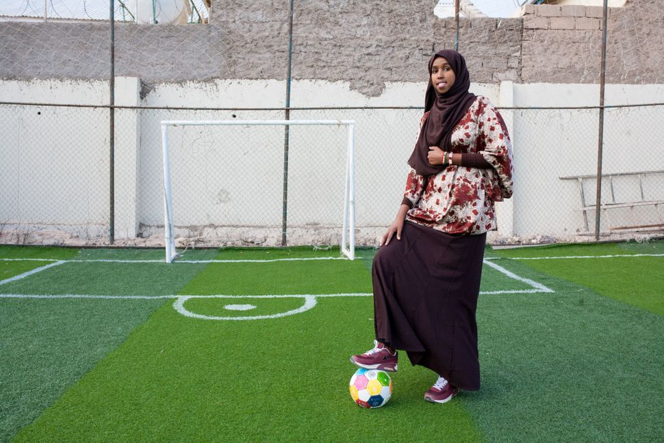 Soccer coach and player Marwa Mauled Abdi, 24, poses at Ubah fitness center in Hargeisa, Somalia, on March 1, 2018.