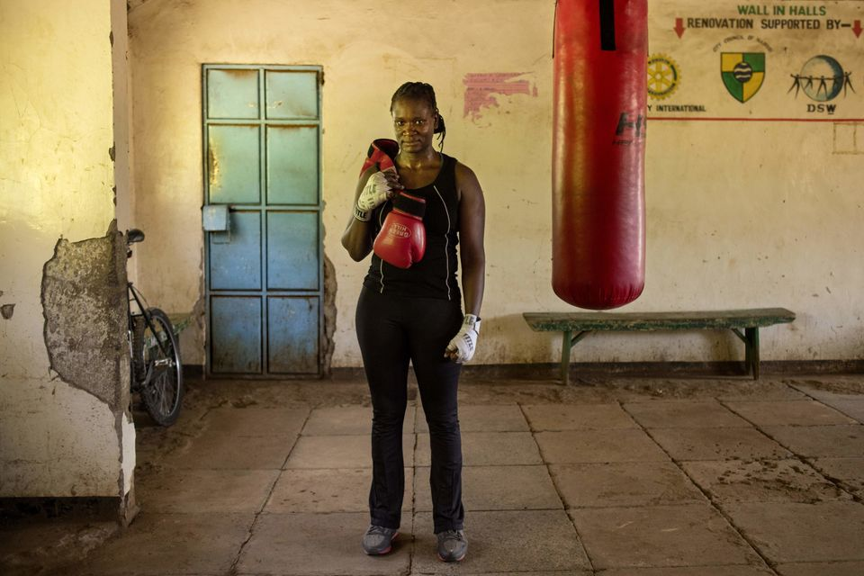 Sarah Achieng is a 31-year-old professional boxer and sports administrator. Here she poses after her training session at&nbsp