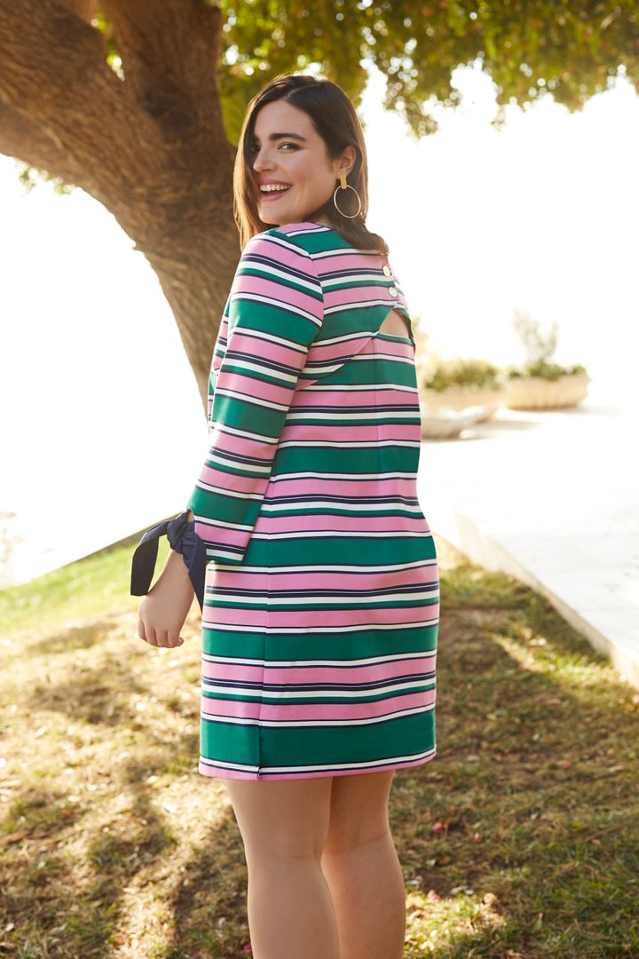 "<a href=""http://www.eloquii.com/draper-james-for-eloquii-striped-tie-sleeve-dress/1246046.html?cgid=draper-james&amp;start=8&amp;dwvar_1246046_colorCode=33"" target=""_blank"">Striped tie-sleeve dress</a> ($145), from the Draper James for Eloquii collection.&nbsp;"
