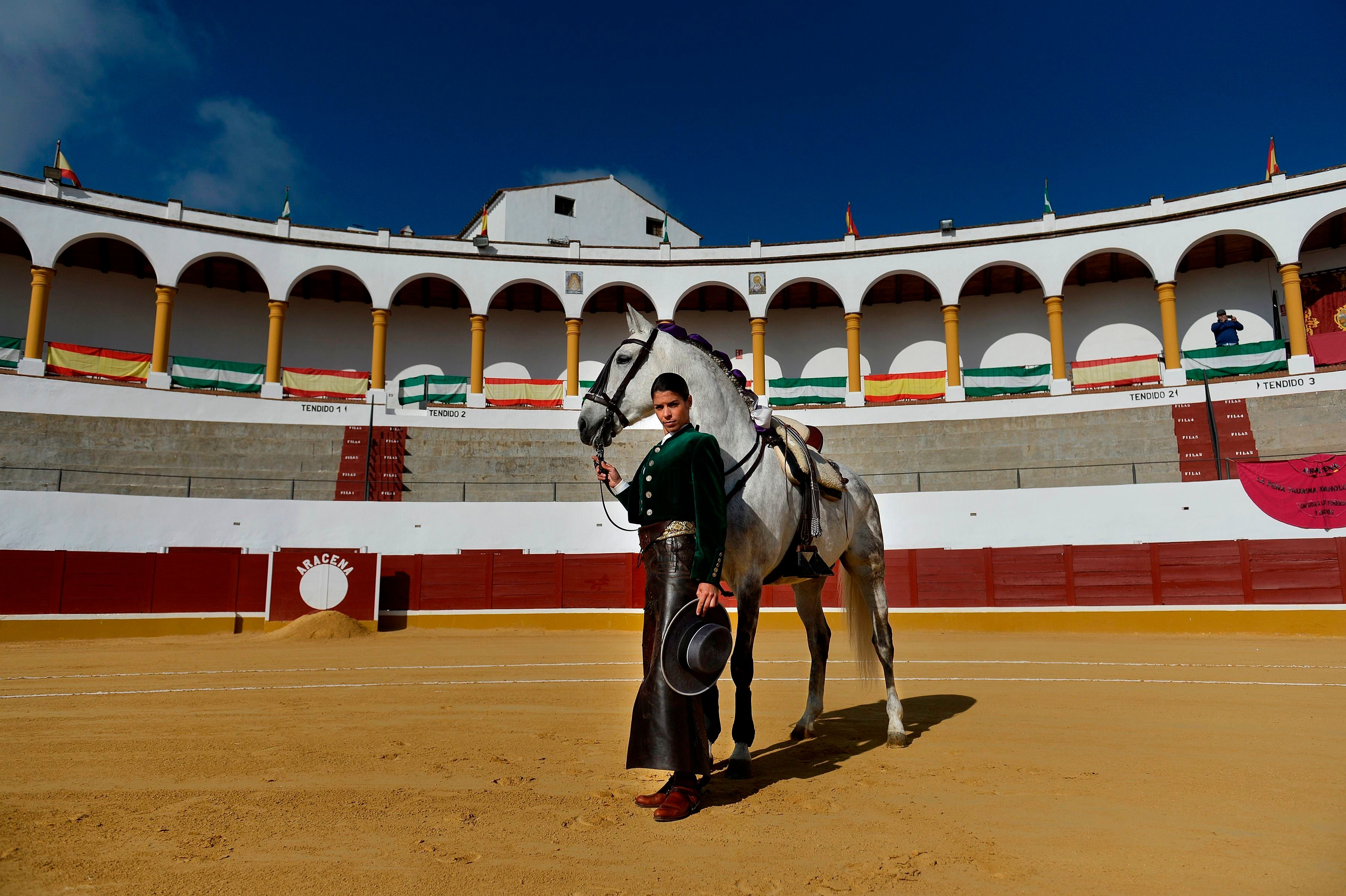 French rejoneadora Lea Vincens, 33, poses at the Aracena bullring, in Huelva, southern Spain on February 25, 2018. A rejoneadora is a mounted bullfighter who uses a lance.   / AFP PHOTO / Cristina Quicler        (Photo credit should read CRISTINA QUICLER/AFP/Getty Images)