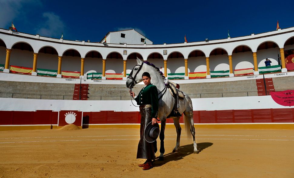 Lea Vincens is a rejoneadora -- or a bullfighter who mounts a horse in the ring -- in Huelva, Spain.
