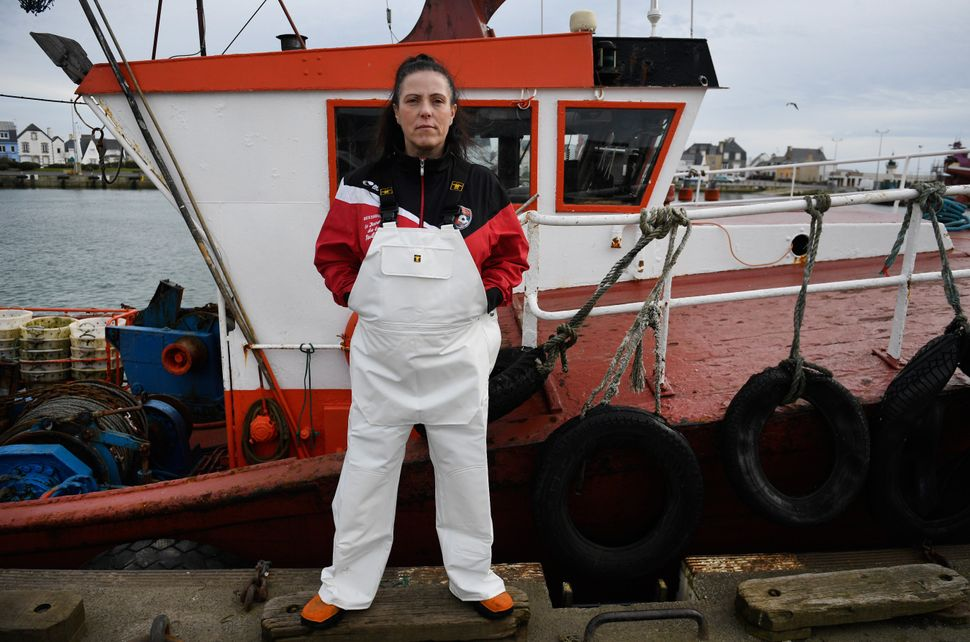 Sailor Marie Rouffet poses for a picture in the port of Le Guilvinec, France, onFeb. 16, 2018.
