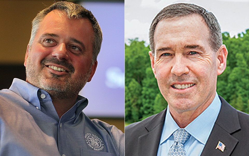 James Debney, CEO of Smith & Wesson (left) and Christopher Killoy, CEO of Sturm, Ruger & Co. (right), live miles apar
