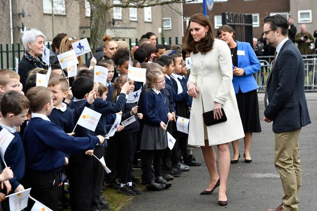 The Duchess of Cambridge meets school children during a visit to Pegasus Primary School in Oxford to...