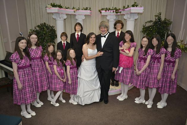 Seven of the 13 Turpin siblings, pictured here during a past vow renewal of their parents, received a...