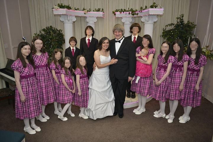 Seven of the 13 Turpin siblings, pictured here during a past vow renewal of their parents, received a private concert by cell