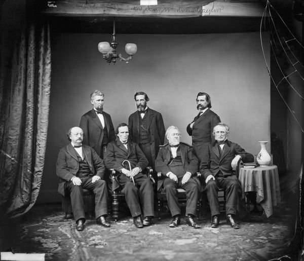 Mathew Brady studio portrait of the House of Representatives impeachment committee of President Andrew Johnson in 1868. Stand