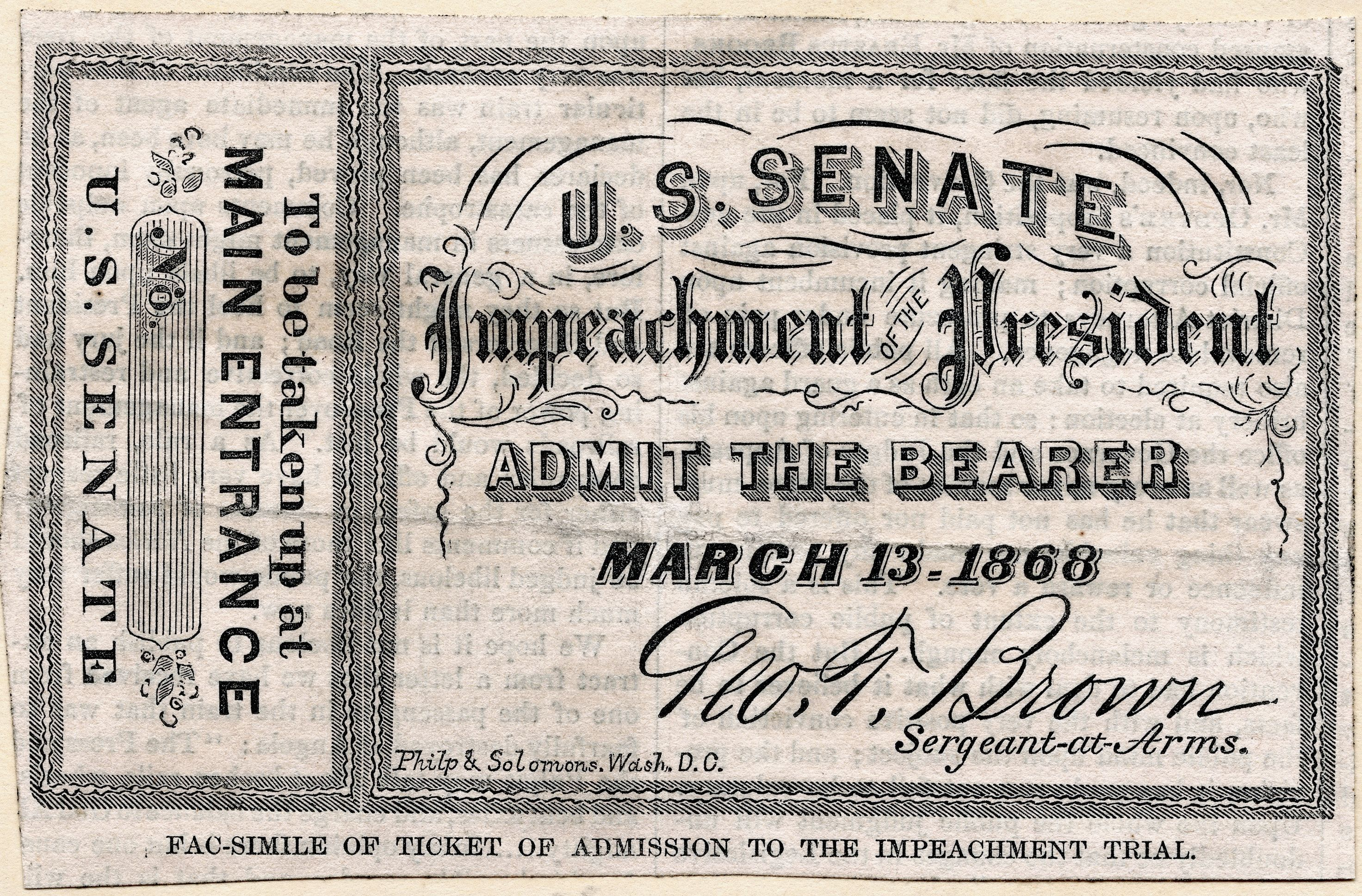 Facsimile of a ticket of admission to the Impeachment Trial of President Andrew Johnson in the United States Senate on March