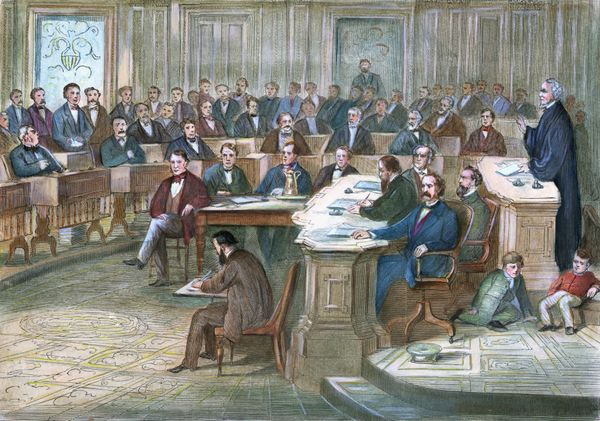 Engraving depicts a courtroom scene during the 1868 impeachment of Andrew Johnson.