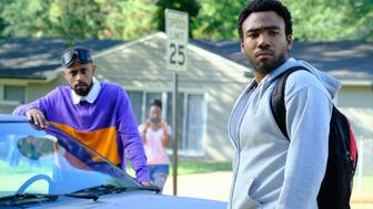 """ATLANTA -- """"Alligator Man"""" -- Season Two, Episode 1 (Airs Wednesday, March 1, 10:00 p.m. e/p) Pictured: Lakeith Stanfield as Darius, Donald Glover as Earnest Marks. CR: Guy D'Alema/FX"""
