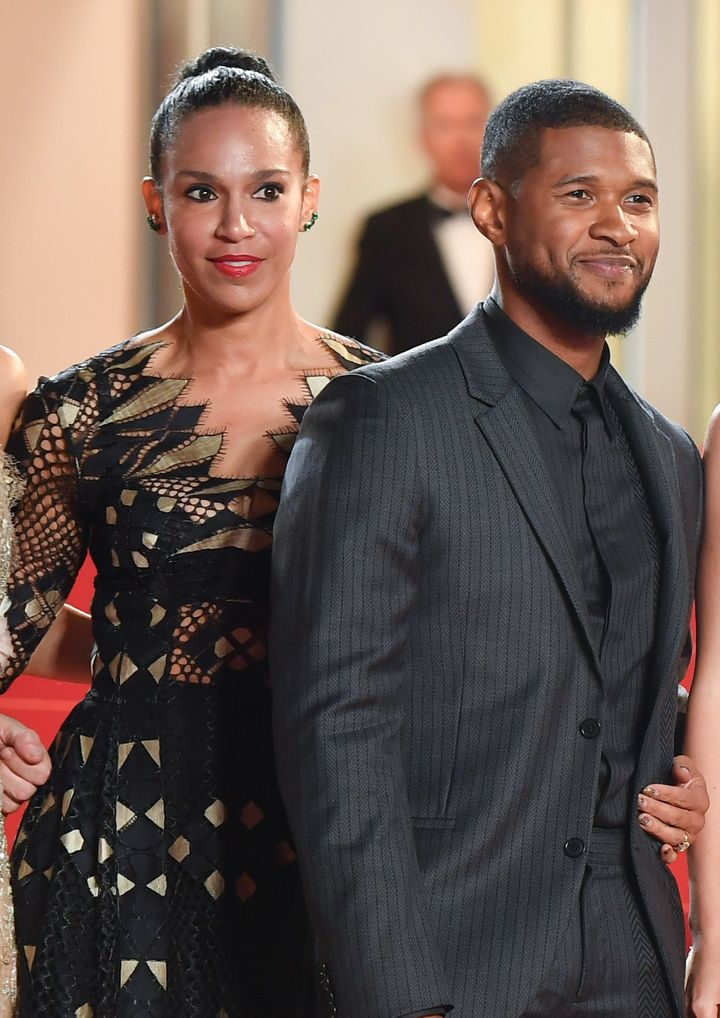 Usher and then-fiancee Grace Miguel at the Cannes Film Festival on May 16, 2016.