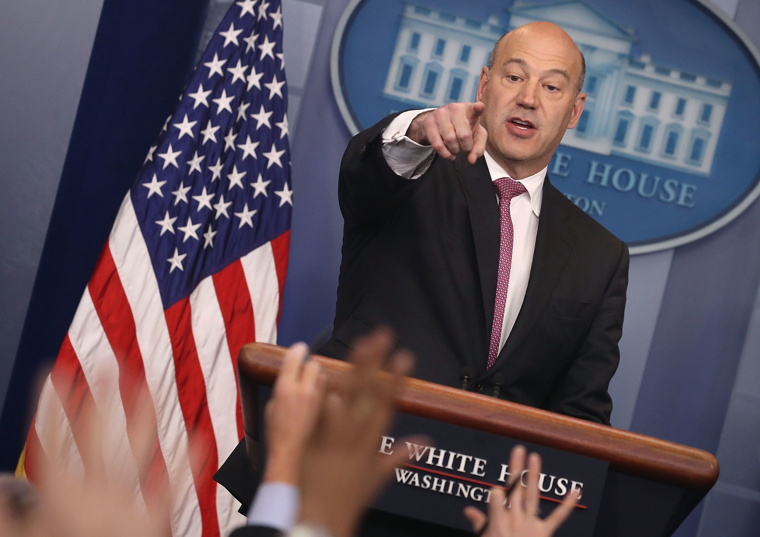 WASHINGTON, DC - JANUARY 23:  Gary Cohn, White House Economic Advisor, takes questions from the media during a briefing on President Donald Trump's upcoming trip to the World Economic Forum later this week in Davos Switzerland, at the White House on January 23, 2018 in Washington, DC.  (Photo by Mark Wilson/Getty Images)