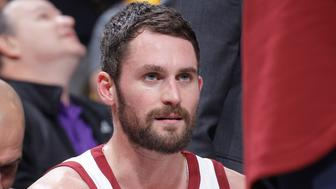 SACRAMENTO, CA - DECEMBER 27: Kevin Love #0 of the Cleveland Cavaliers looks on during the game against the Sacramento Kings on December 27, 2017 at Golden 1 Center in Sacramento, California. NOTE TO USER: User expressly acknowledges and agrees that, by downloading and or using this photograph, User is consenting to the terms and conditions of the Getty Images Agreement. Mandatory Copyright Notice: Copyright 2017 NBAE (Photo by Rocky Widner/NBAE via Getty Images)
