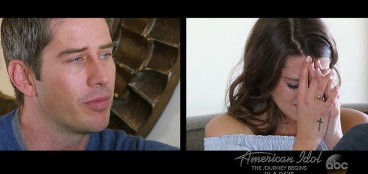 "A split screen shows Arie Luyendyk Jr. breaking up with Becca Kufrin on national television during ABC's ""The Bachelor"""