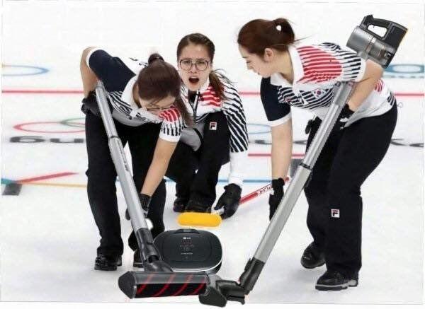 여자 컬링 대표 '팀 킴'이 진짜 청소기 모델이