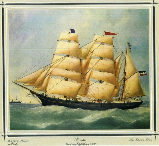 German merchant sailing barque Paula in