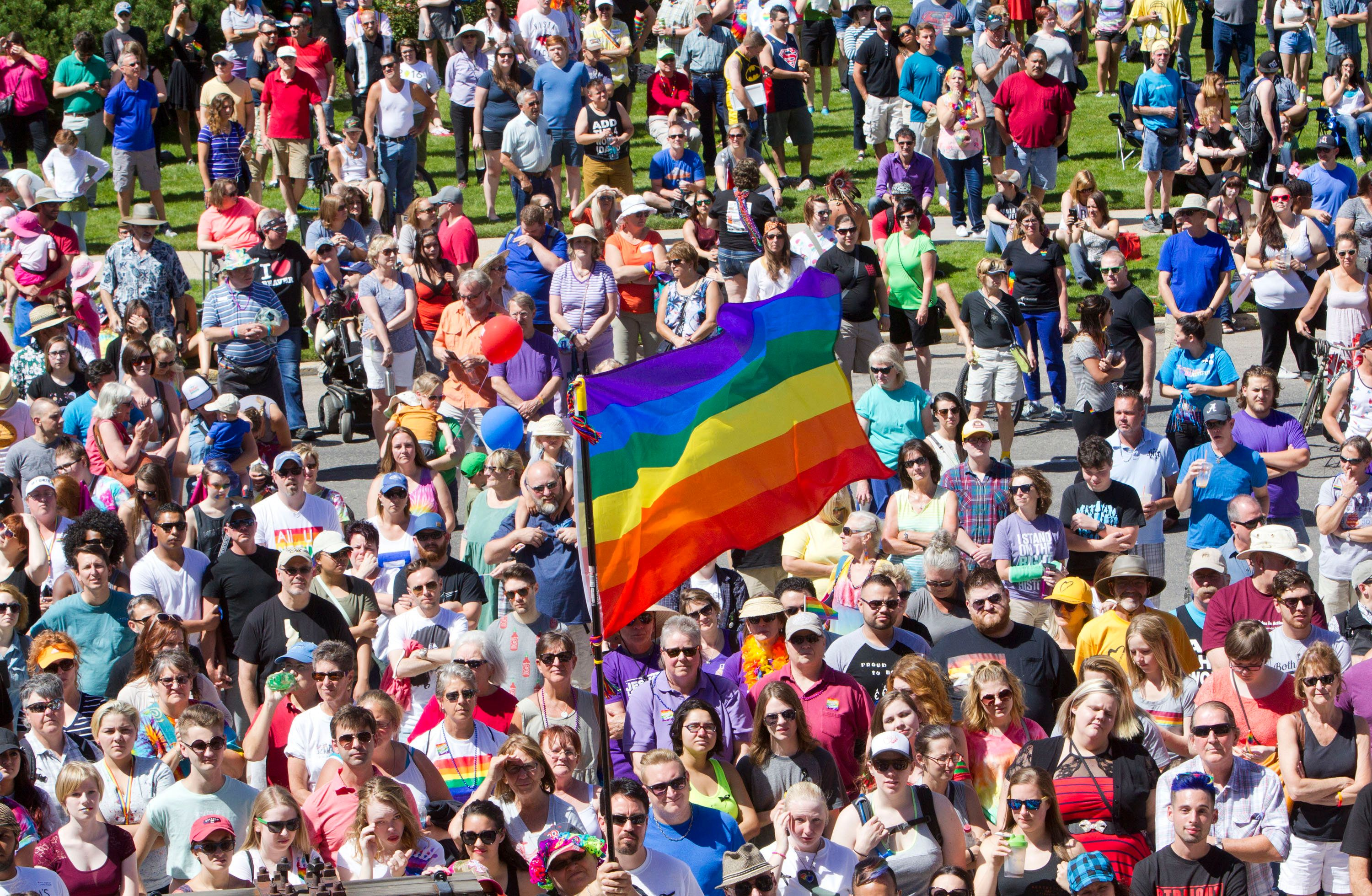 Thousands gather at Capitol Park in downtown Boise, Idaho, for the annual PrideFest rally and parade on Saturday, June 18, 2016. Speakers recounted the struggle for LGBT rights, and honored the vicitms of the mass shooting in Orlando, Fla., just a week before. (Darin Oswald/Idaho Statesman/TNS via Getty Images)