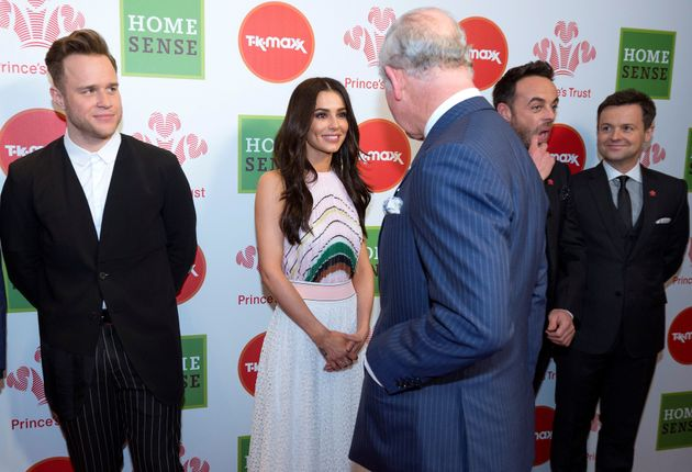 Prince Charles, Prince of Wales (R) meets Celebrity Trust Ambassadors (L to R) Olly Murs, Cheryl, and...