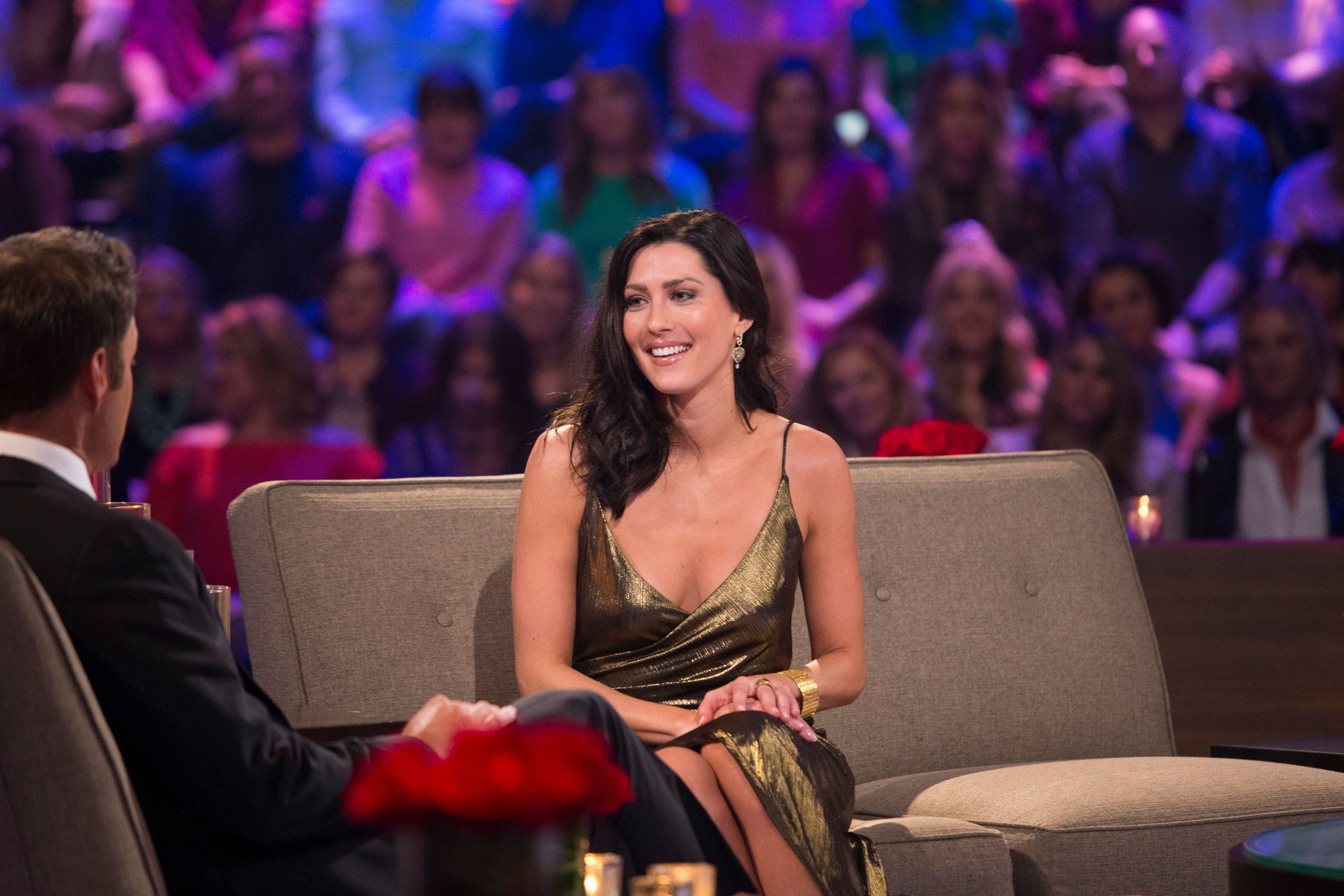 THE BACHELOR - 'The Bachelor: After the Final Rose' - Arie's soul-searching journey continues after America followed the chaos of his being in love with two women, which played out in gut-wrenching fashion, on 'The Bachelor: After the Final Rose,' a two-hour live special, TUESDAY, MARCH 6 (8:00-10:01 p.m. EST), on The ABC Television Network. (Paul Hebert/ABC via Getty Images) CHRIS HARRISON, BECCA KUFRIN