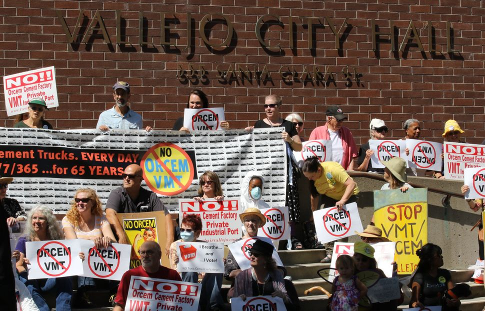Residents gather in front of Vallejo City Hall to protest the Orcem project.