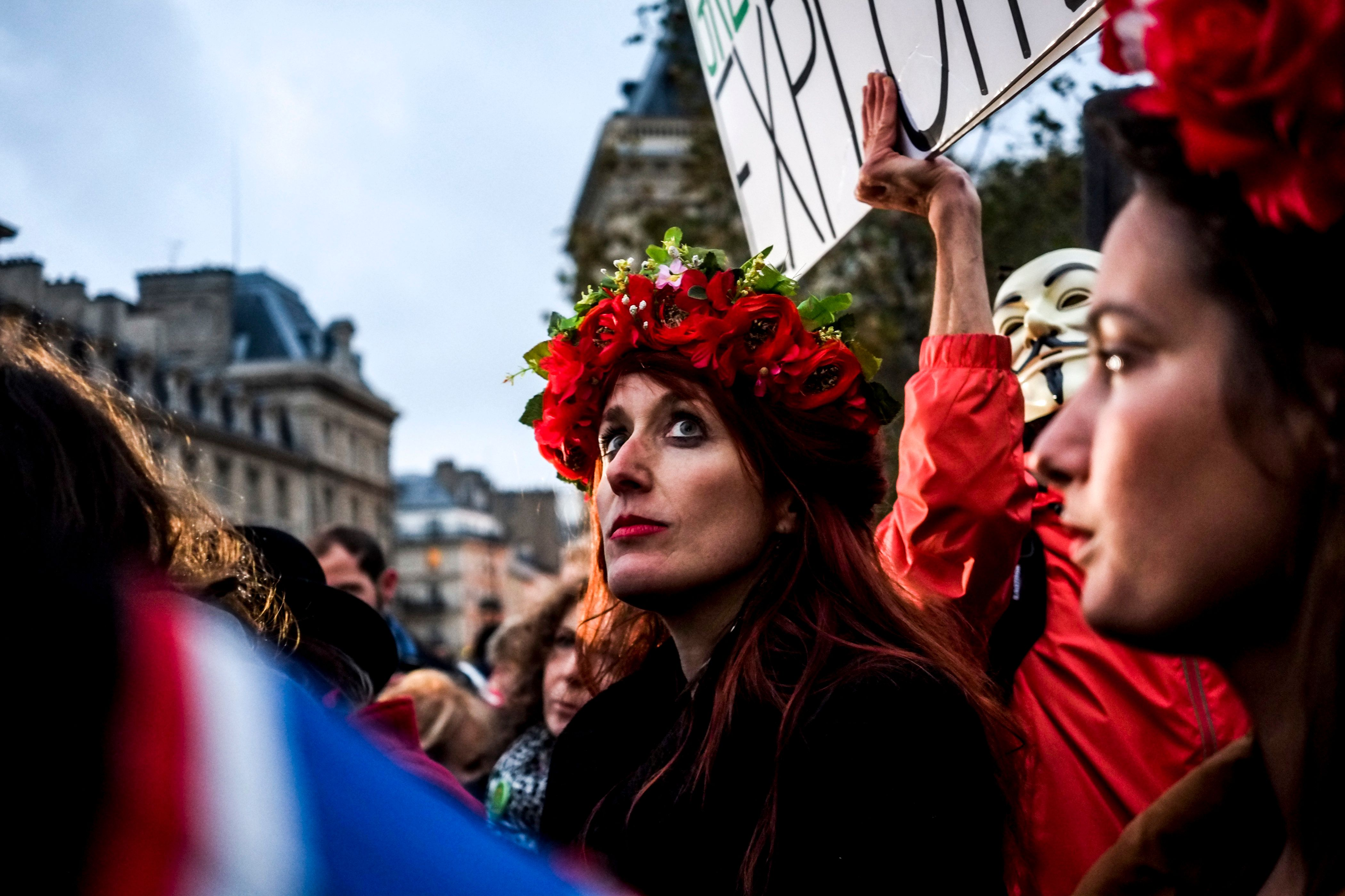 Demonstrators during a protest  for equal pay between men and women, in Paris, France, on November 7, 2016. Some 200 to 300 people of all ages, incuding men, gathered at Paris' Place de la Republique on November 7 to say no to wage inequality, on the symbolic date when men have won as much as women in a year, as calculated by participating femenist groups. (Photo by Michael Bunel/NurPhoto via Getty Images)