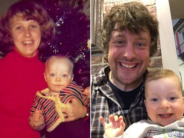 Left: Chris sitting on his mum's lap. Right: Chris with his son, Sam.