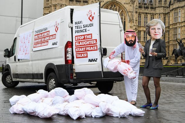 Demonstrators gathered outside of Downing Street today to protest the Crown Prince's