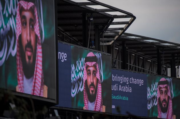#ANewSaudiArabia: Electronic billboards show adverts for Saudi Crown Prince Mohammed bin Salman with...