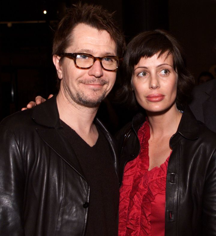 Gary Oldman and Donya Fiorentino at the Los Angeles premiere of 'Before Night Falls' in 2000.