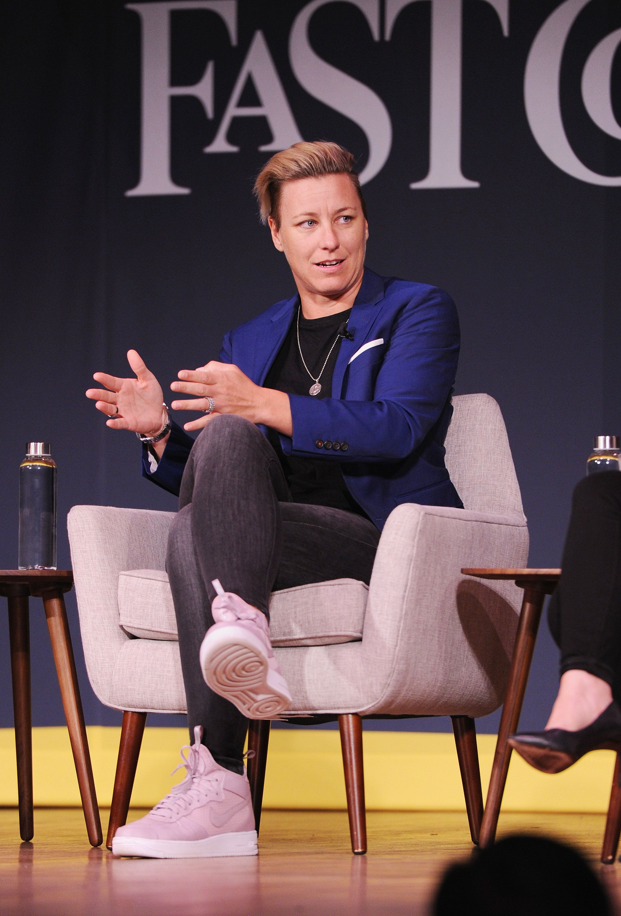 NEW YORK, NY - OCTOBER 26:  Soccer player and Activist Abby Wambach speaks onstage for Soccer Star and Activist Abby Wambach and Nike's Hannah Jones an Challenging The Status Quo at 92nd Street Y on October 26, 2017 in New York City.  (Photo by Craig Barritt/Getty Images for Fast Company)